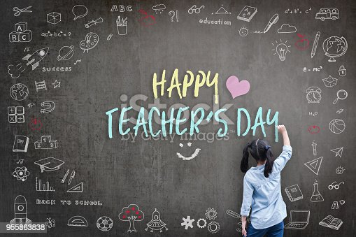istock Happy Teacher's Day greeting for World teachers day concept with school student back view drawing doodle of of learning education graphic freehand illustration icon on black chalkboard 955863838