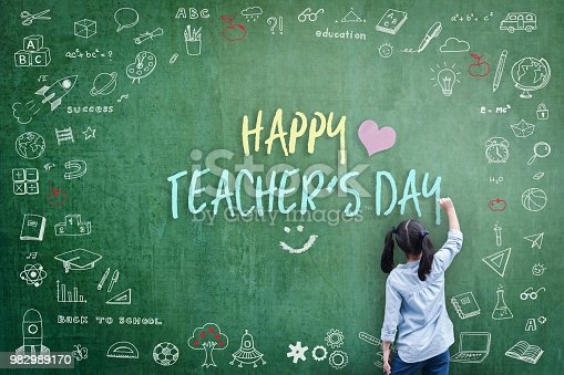 istock Happy Teacher's Day greeting for World teachers day concept with school student back view drawing doodle of of learning education graphic freehand illustration icon on green chalkboard 982989170