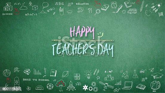 977488078 istock photo Happy teacher's day greeting on chalkboard 900111820