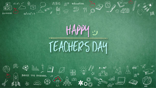 happy teacher's day greeting on chalkboard - teachers day stock photos and pictures