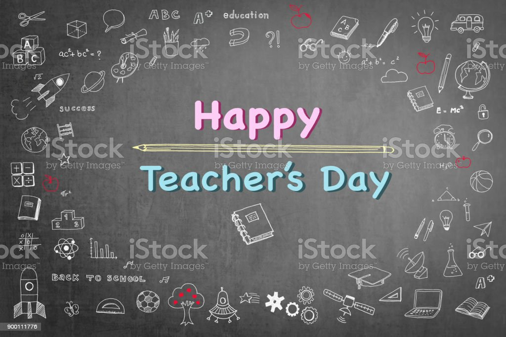 Happy teachers day greeting on school black chalkboard with happy teachers day greeting on school black chalkboard with educational doodle drawing for teacher appreciation week gumiabroncs Image collections