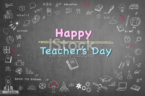 istock Happy teacher's day greeting on school black chalkboard with educational doodle drawing for teacher appreciation week concept 900111776