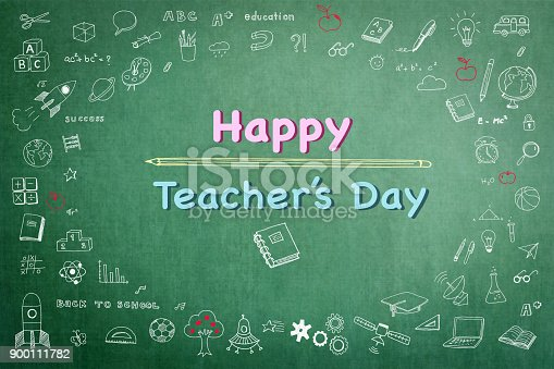 977488078 istock photo Happy teacher's day greeting on school black chalkboard with educational doodle drawing for teacher appreciation week concept 900111782