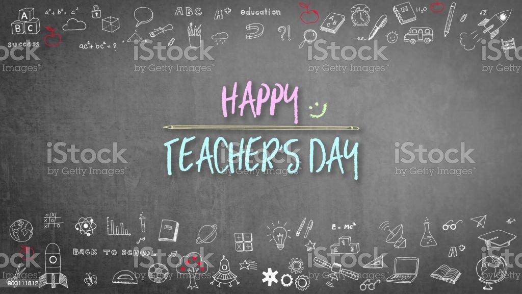 Happy teacher\'s day greeting on school black chalkboard with...