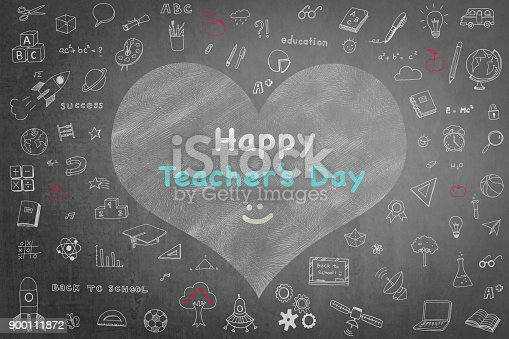 977488078 istock photo Happy teacher's day greeting on school black chalkboard with educational doodle drawing for teacher appreciation week concept 900111872