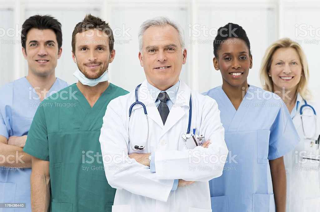Happy Team Of Doctors stock photo