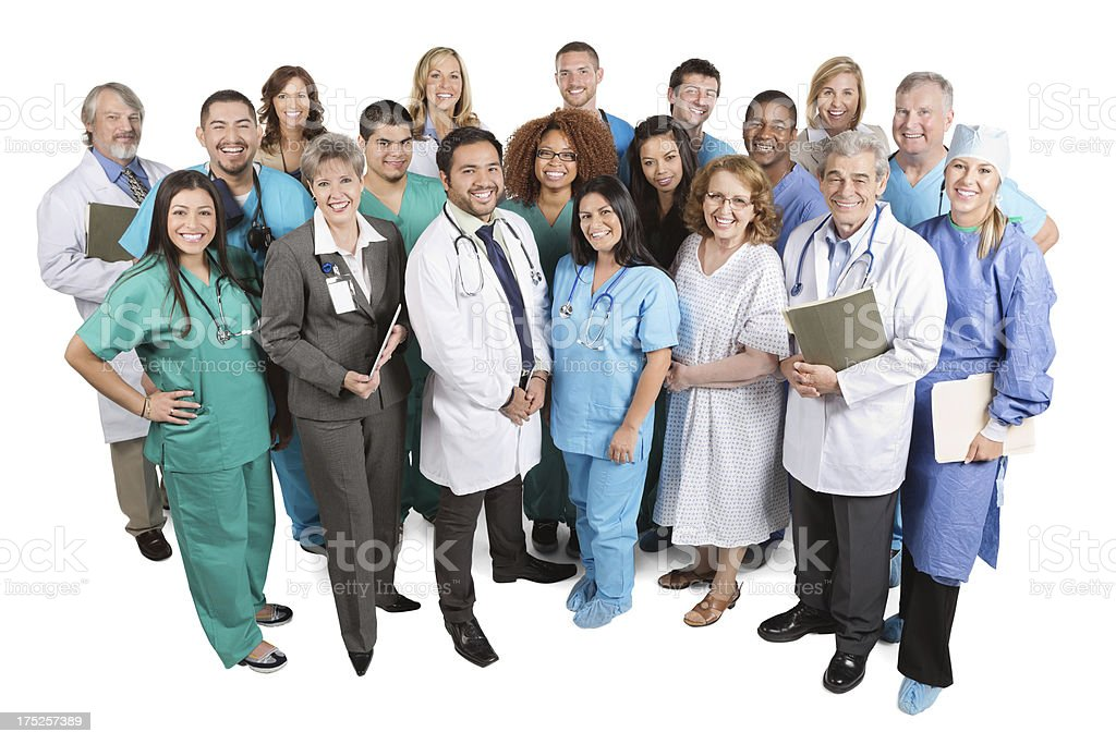 Happy team of medical professionals isolated on white stock photo
