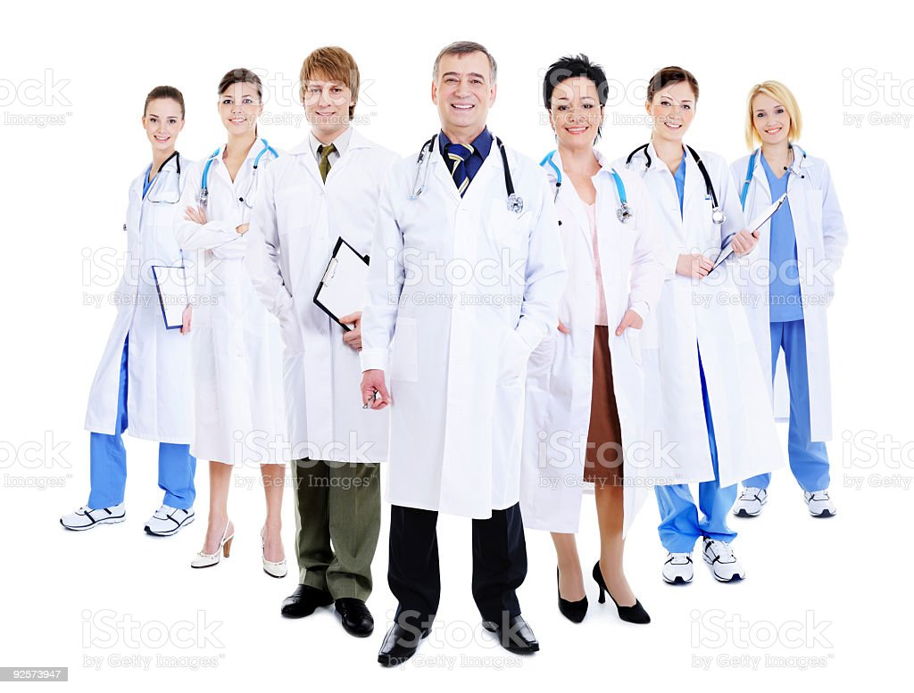 happy team of successful doctors royalty-free stock photo