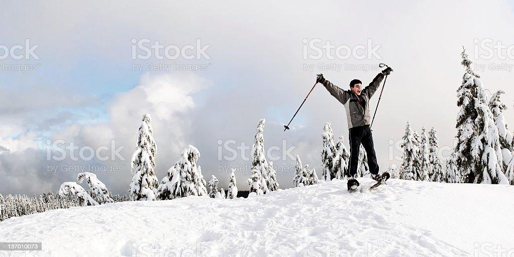 happy teen boy winter hiking royalty-free stock photo