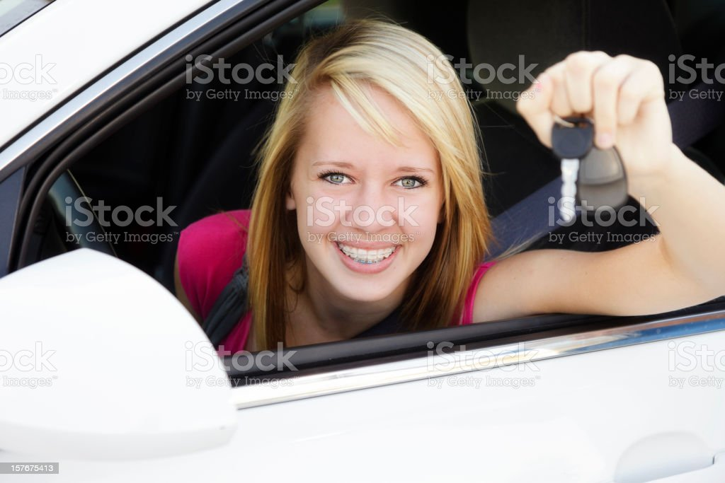 Happy Teen Driver stock photo