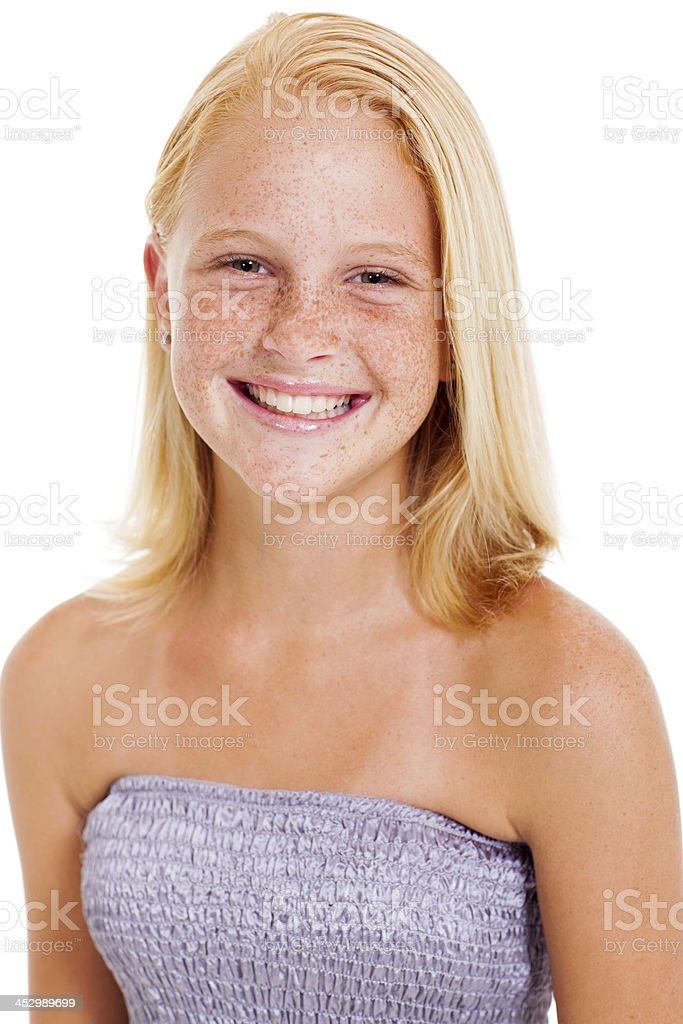 happy teen girl with freckles stock photo