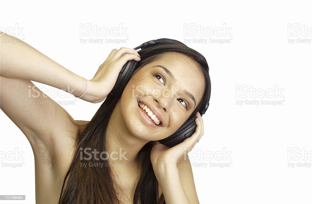 happy teen listening stock photo