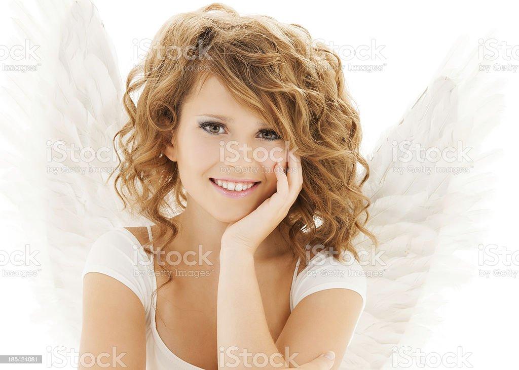 happy teenage angel girl royalty-free stock photo