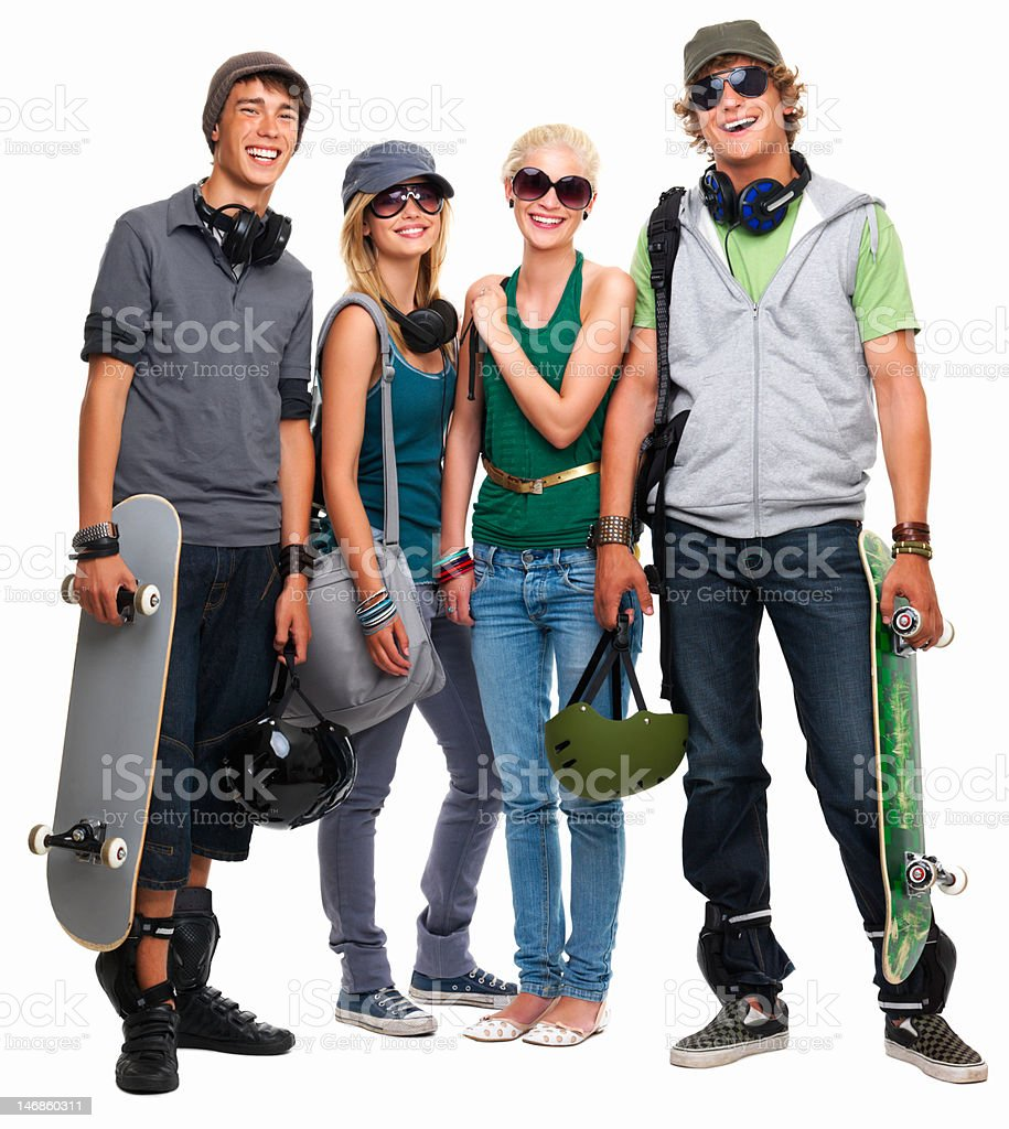 Happy teenage boys and girls standing together against white background royalty-free stock photo