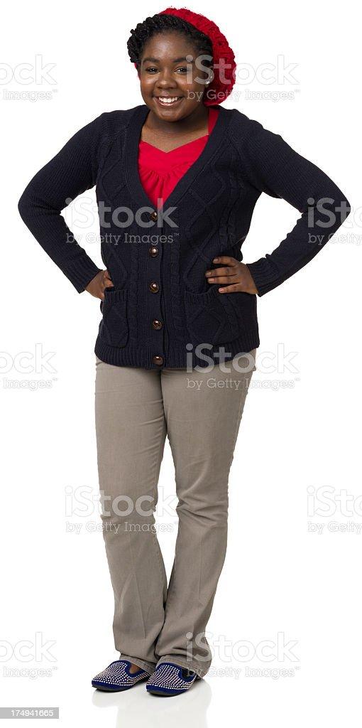Happy Teenage Girl Standing Portrait royalty-free stock photo