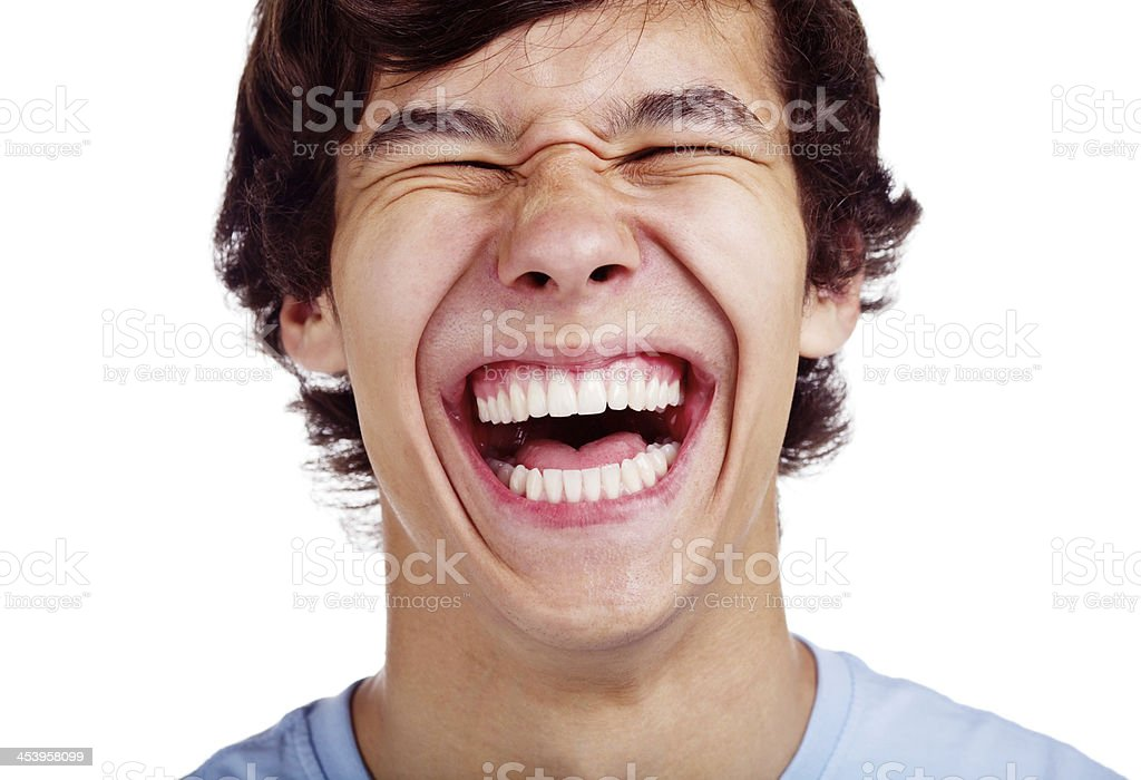 Happy teenage laugh closeup stock photo