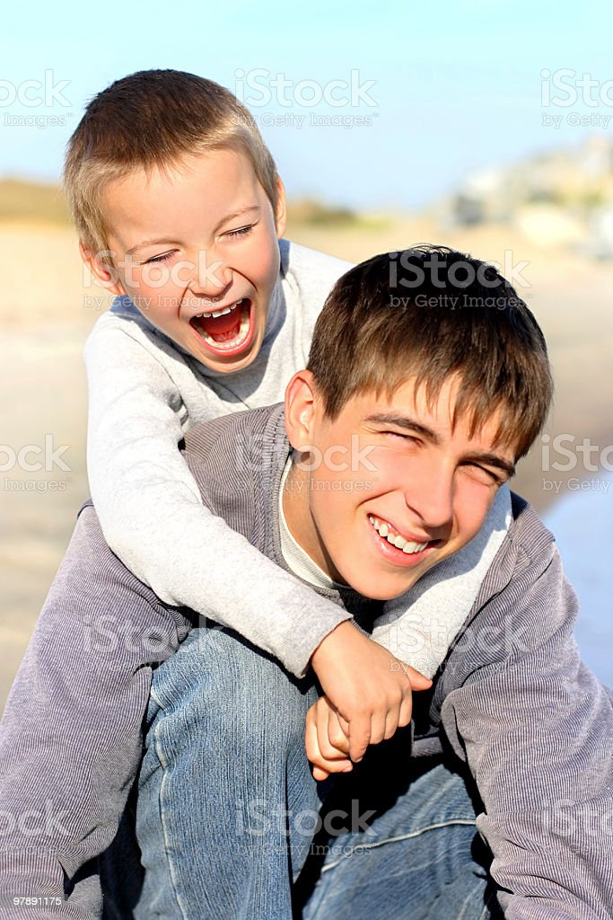 happy teenager and kid royalty-free stock photo