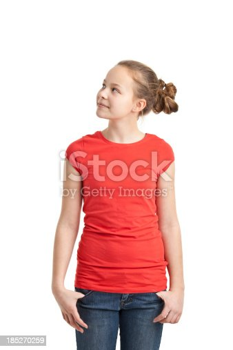 happy teenager girl in red tshirt isolated on white
