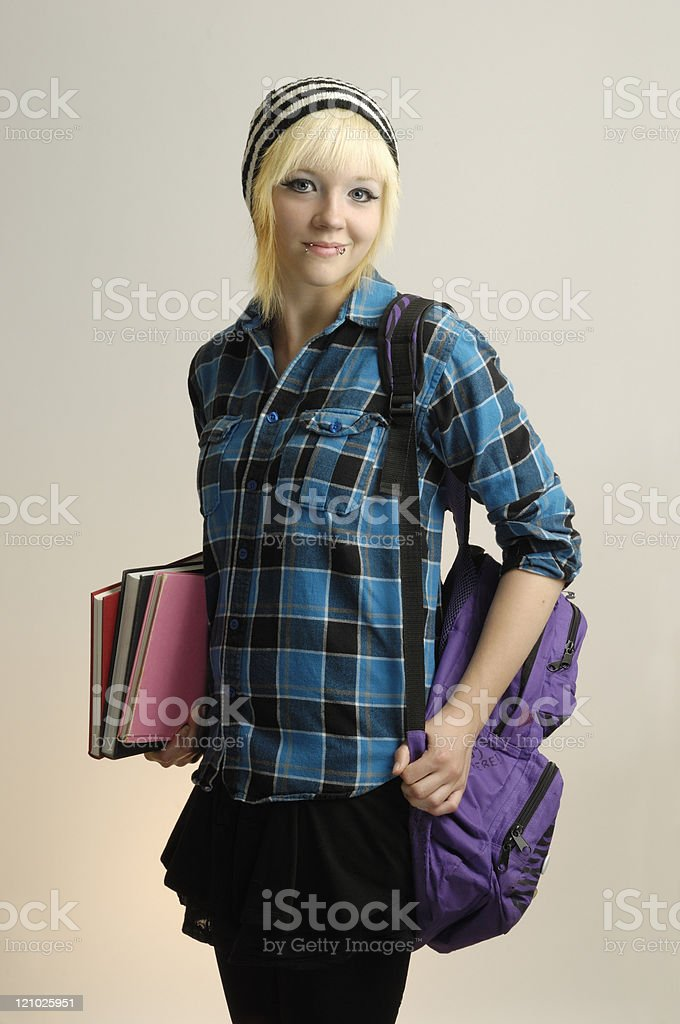 Happy teenager ready for school royalty-free stock photo