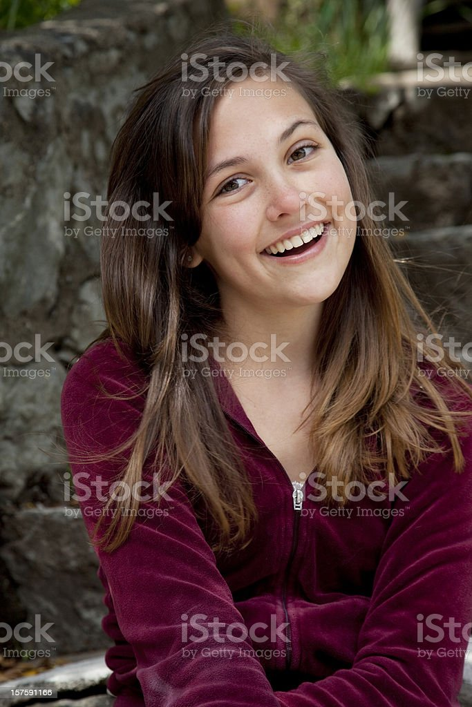 happy teenager with long brown hair royalty-free stock photo