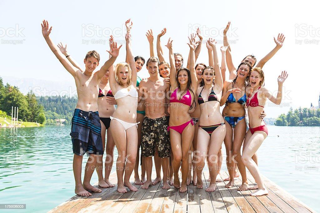 Happy teenagers stock photo