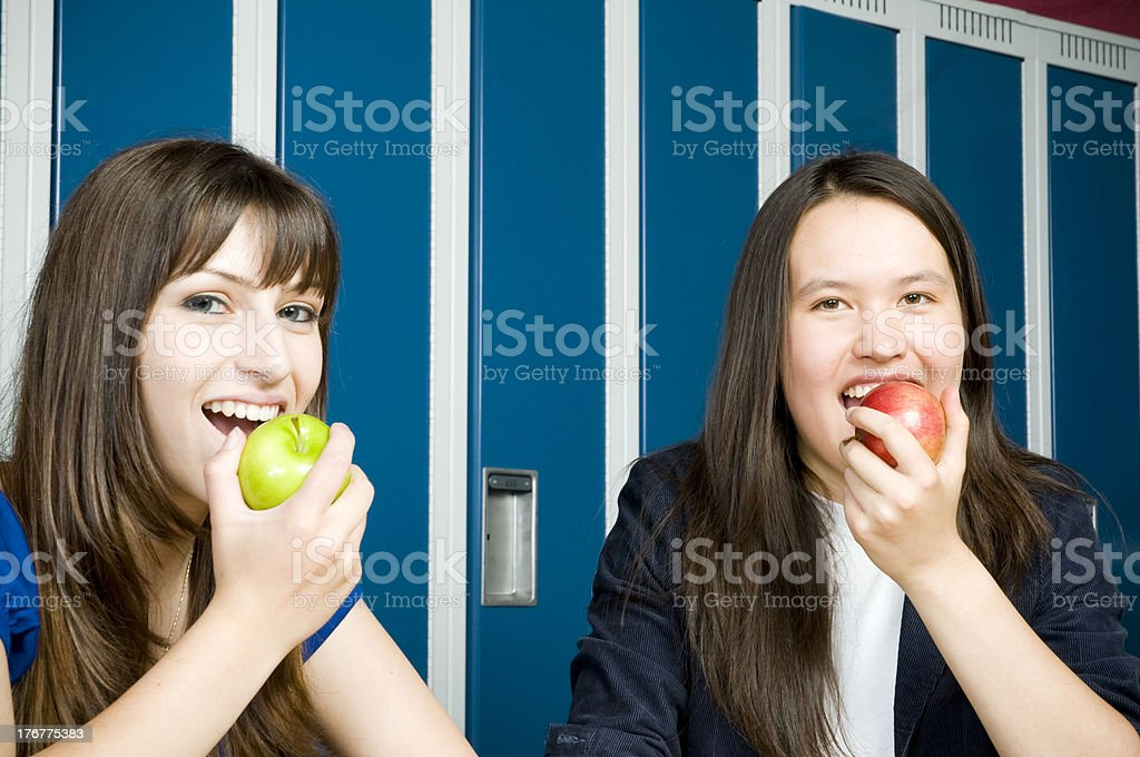 Happy Teens, Healthy Lunch at School royalty-free stock photo