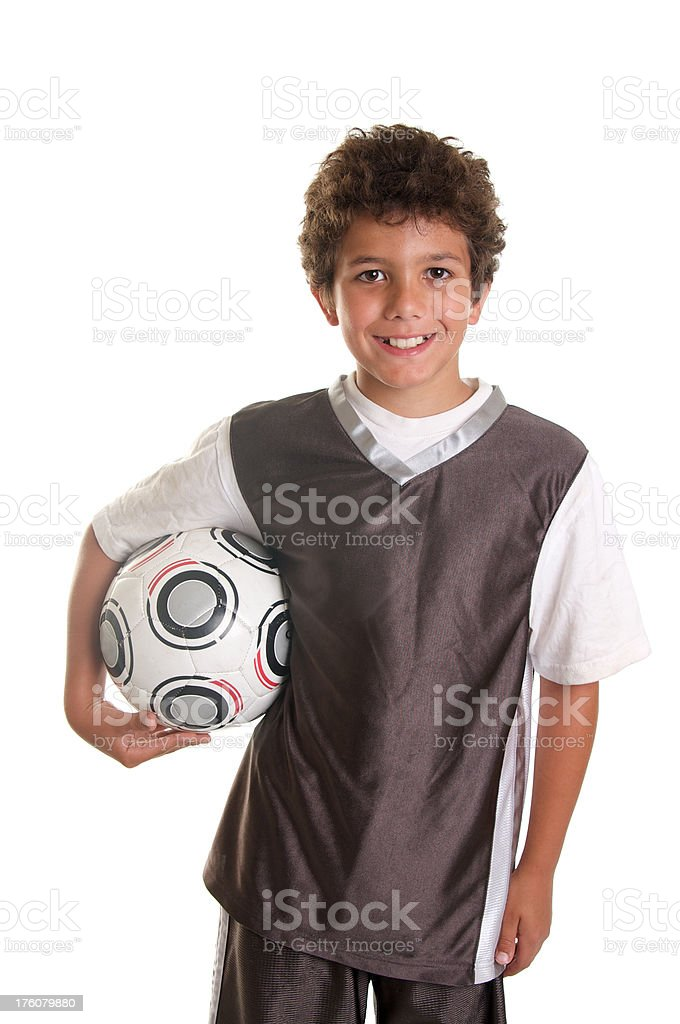 Happy Ten Year Old Boy with Soccer Ball royalty-free stock photo