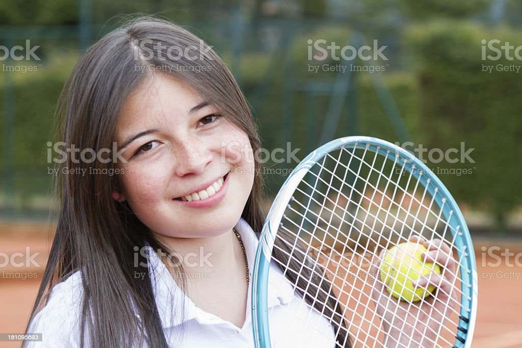 Happy tennis player royalty-free stock photo