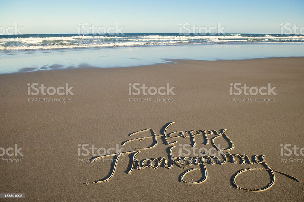 Happy Thanksgiving Calligraphy Message in Sand royalty-free stock photo