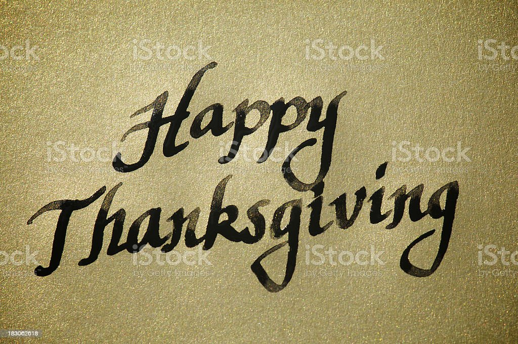 Happy Thanksgiving Calligraphy Message on Gold royalty-free stock photo