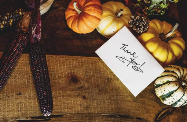 Happy Thanksgiving Card with words Thank you on handwritten card Autumn harvest on rustic wood background stock photo