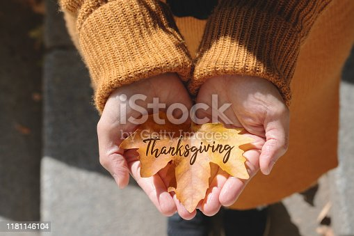 istock Happy Thanksgiving Day with Maple leave on woman hand and text 1181146104