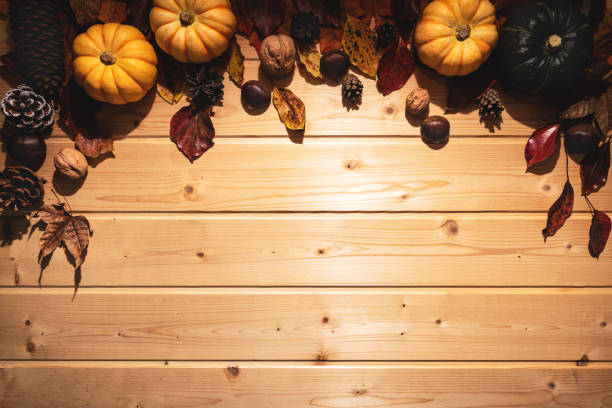 Happy Thanksgiving Day with pumpkin and nut on wooden background stock photo