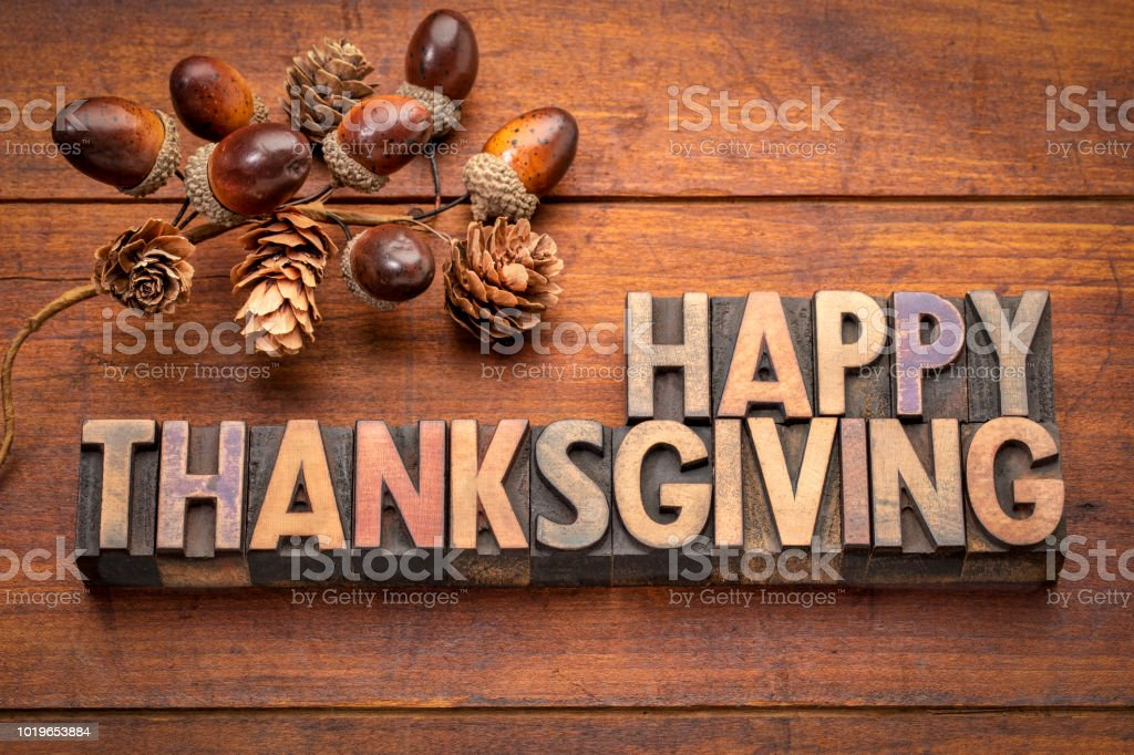 Happy Thanksgiving greeting card in wood type stock photo