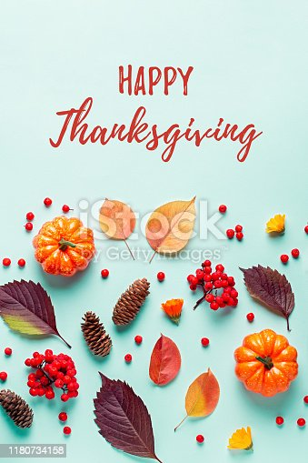 istock Happy Thanksgiving greeting card with leaves, pumpkins, rowan berries on mint background. Fall, thanksgiving concept. 1180734158