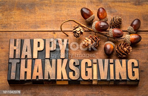 istock Happy Thanksgiving in wood type 1011042076