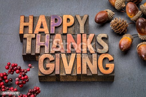 istock Happy Thanksgiving in wood type 586699936