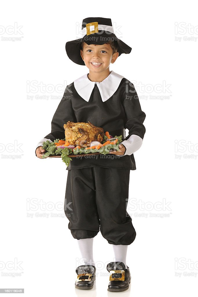 Happy Thanksgiving Pilgrim Boy stock photo