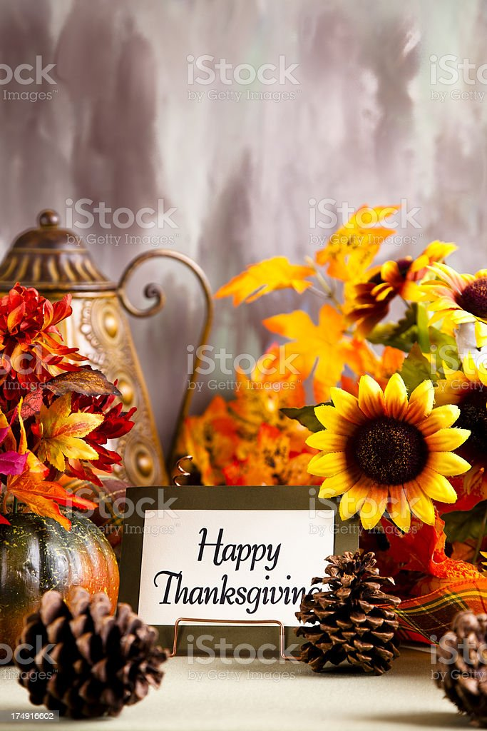 Happy Thanksgiving place setting royalty-free stock photo
