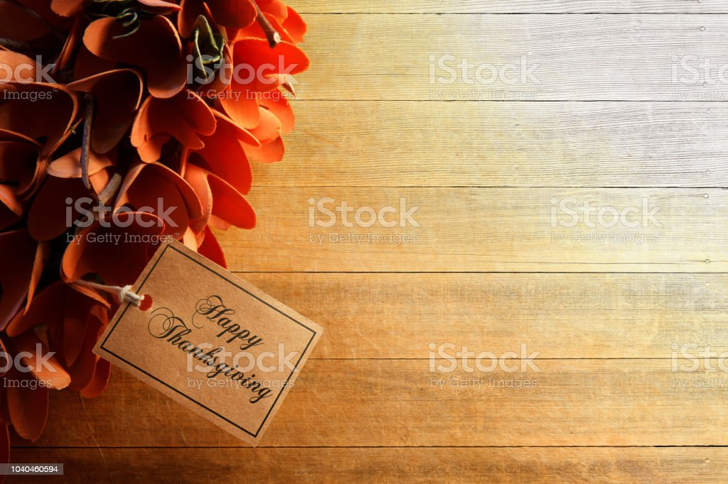 Happy Thanksgiving Tag Attached To Wreath stock photo