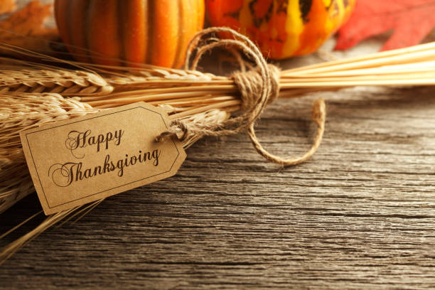 Happy Thanksgiving Tag On Weathered Wood Surface stock photo