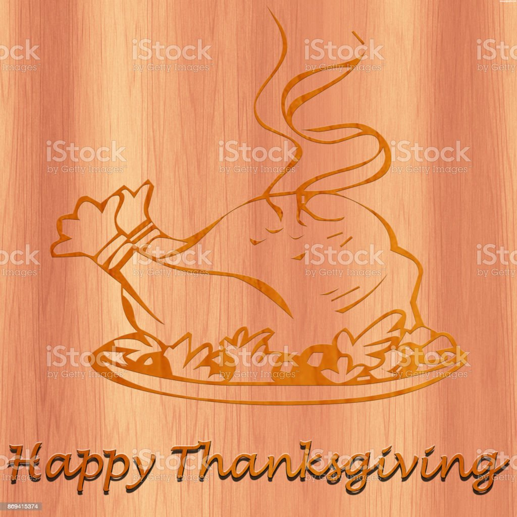 Happy Thanksgiving Turkey made with wood stock photo