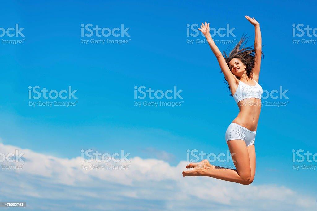 Happy the higher I go stock photo