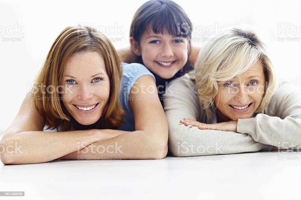 Happy three generational females smiling together royalty-free stock photo