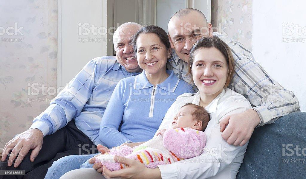 Happy three generations family royalty-free stock photo