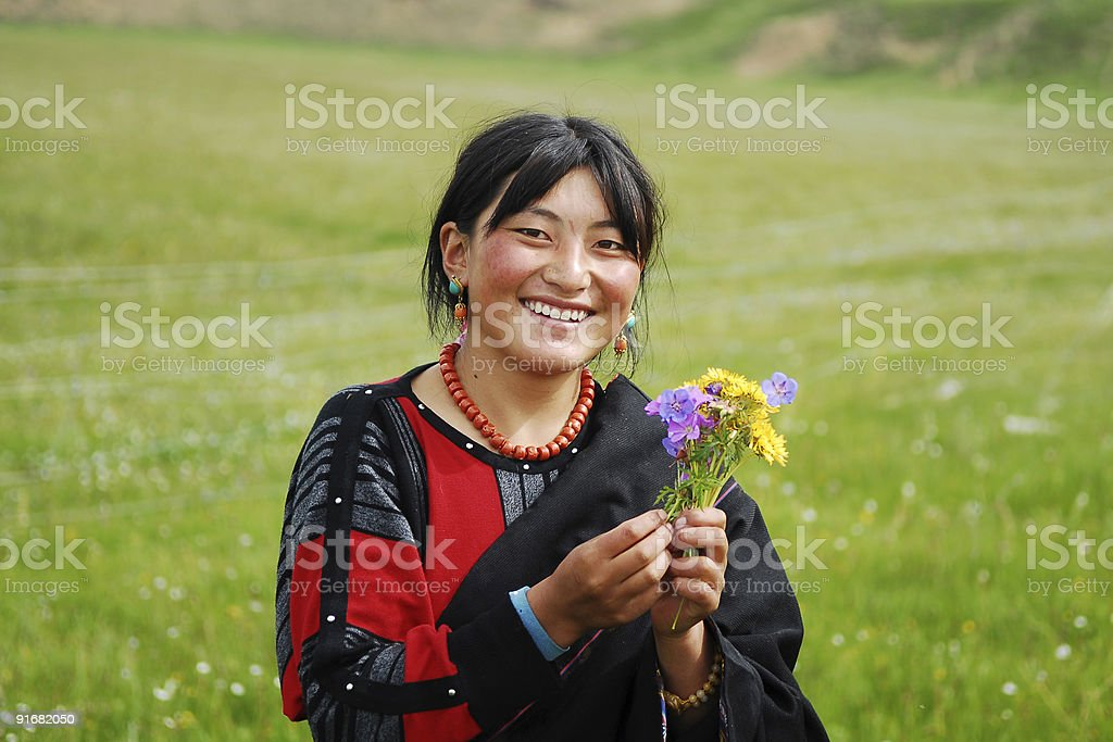 Happy Tibetan Girl stock photo