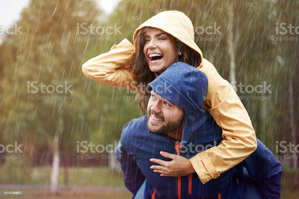 Happy time despite bad weather stock photo
