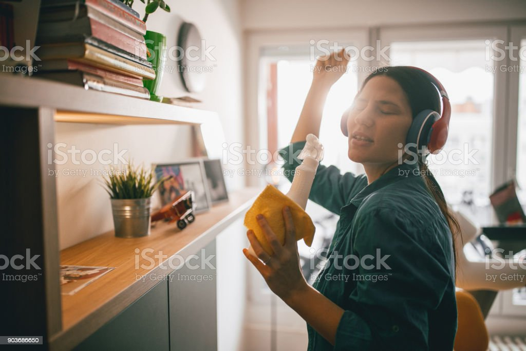 Happy times while cleaning stock photo