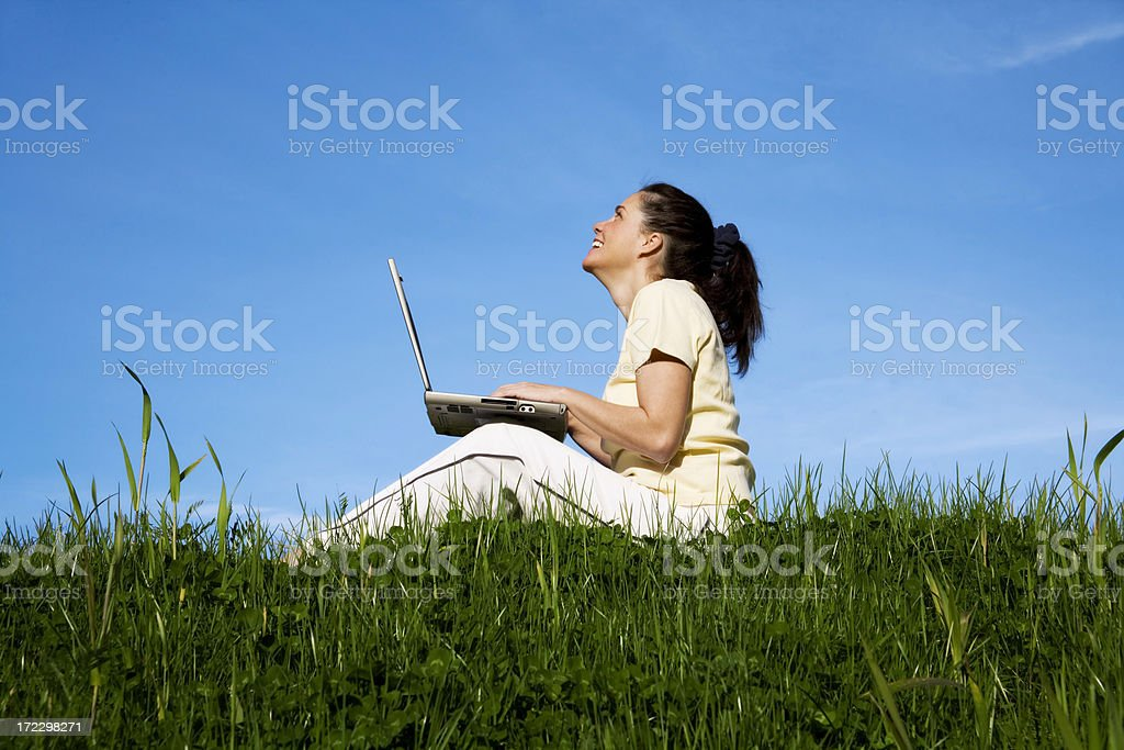 Happy to be Computing Outside royalty-free stock photo