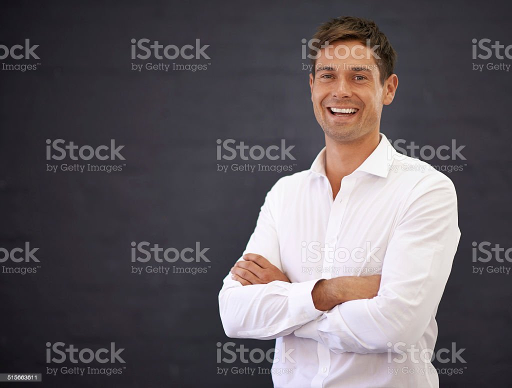 Happy to be on the job stock photo